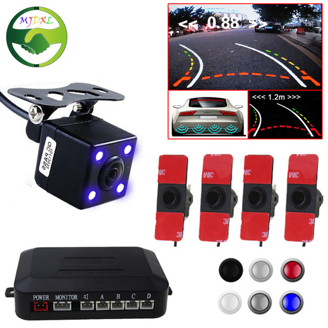 2in1 Intelligent Trajectory Rear View Camera With 16MM Original Flat Sensors Car Video Parking Sensor For Car DVD TFT Monitor