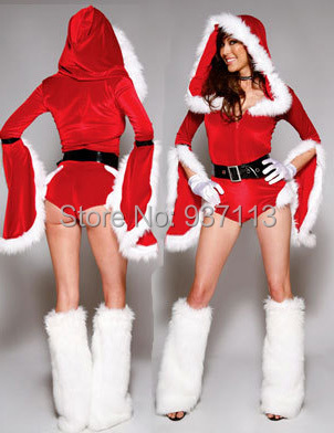 Schön New Year Unique Design Sexy Christmas Outfits Women Thicken Villi Costumes  Petal Long Sleeves Bodycon Jumpsuits On Santa Party