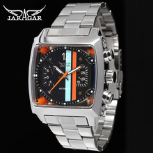 Fashion JARAGAR Men Luxury Brand Rectangle Stainless Steel Tourbillion Automatic Mechanical Wristwatch Gift Box Relogio Releges winner men luxury brand roman number skeleton stainless steel watch automatic mechanical wristwatches gift box relogio releges