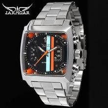 Fashion JARAGAR Men Luxury Brand Rectangle Stainless Steel Tourbillion Automatic Mechanical Wristwatch Gift Box Relogio Releges цена