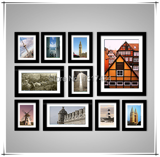 Modern Black 10 Combinations Picture Frame Wall Solid