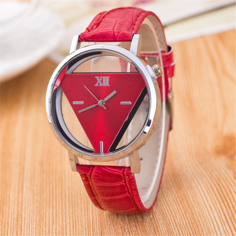 Skeleton Watch Women Hollow Transparent Triangle Dial Watch Red Pink Colorful Wrist Watches Girls' Sweet Gift Relogio Feminino