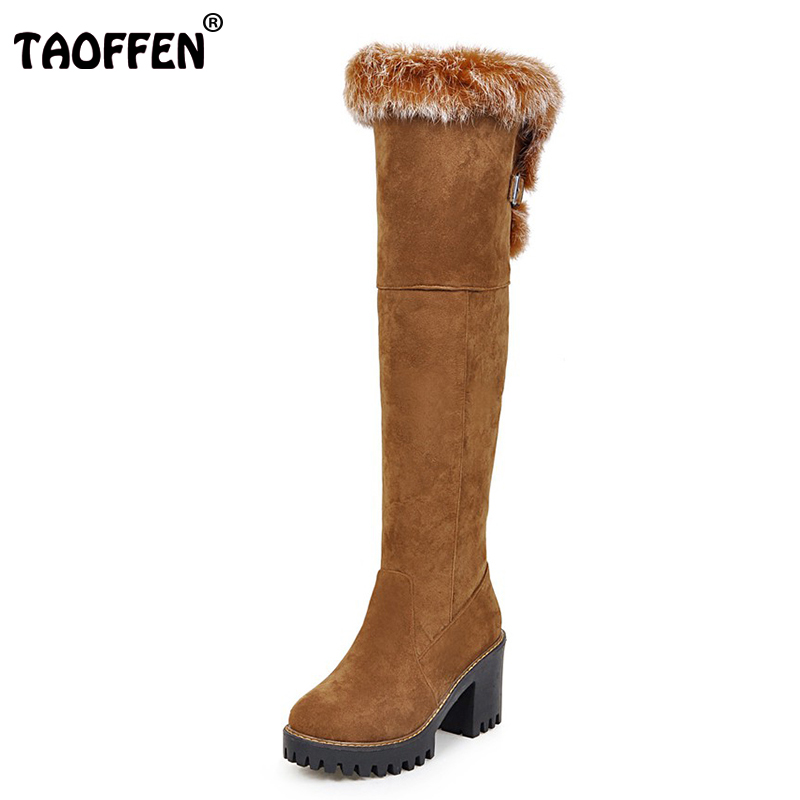TAOFFEN Size 34-43 Women Over Knee High Heel Boots With Thick Fur Warm Thick Heels Boot Warm Shoes Winter Botas Woman Footwear