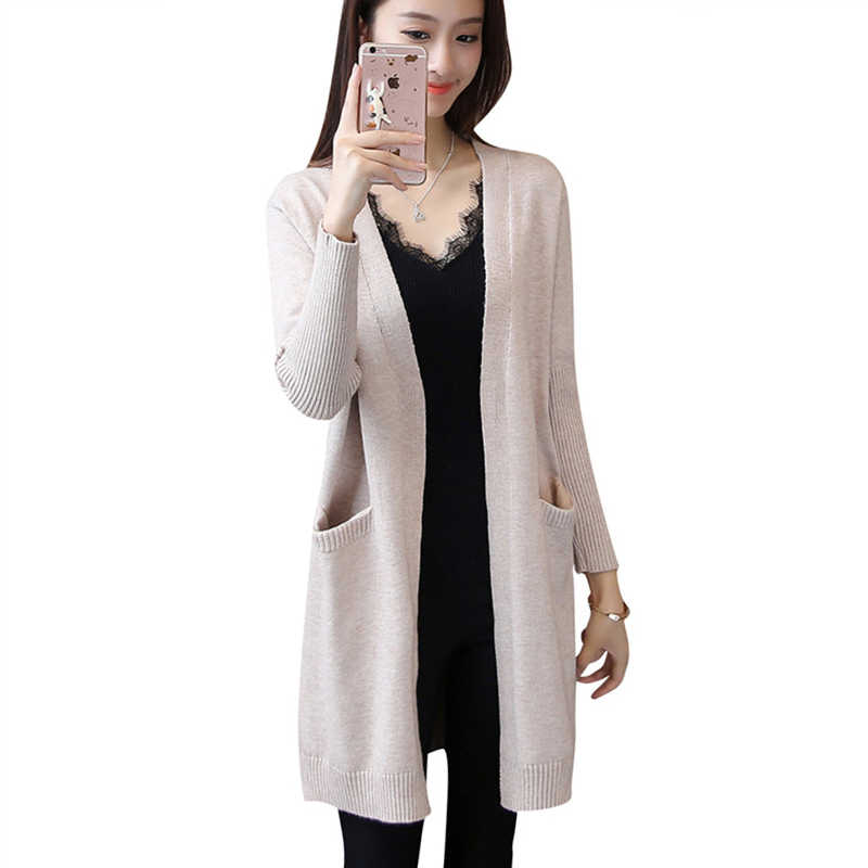 2019 New Autumn Winter Sweaters Cardigans For Women Cashmere Twist Knitwear With Pockets Fashion Solid Slim Female Long Cardigan
