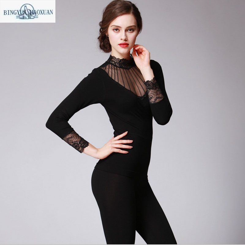 2017 new Ms. thin section Qiuyiqiuku cotton suits modal large size Pile heap lace body sculpting thermal underwear bottoming