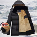 Winter Men Parkas casual Jackets Man Hooded windproof Thick Warm Outwear Overcoat Wadded style Solid Fur collar Coat 5XL