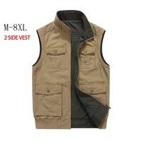 High Quality Double Side Vest Denim Men Casual Vest with Many Pocket Colete Sleeveless Jacket Military Waistcoat Plus Size 8XL