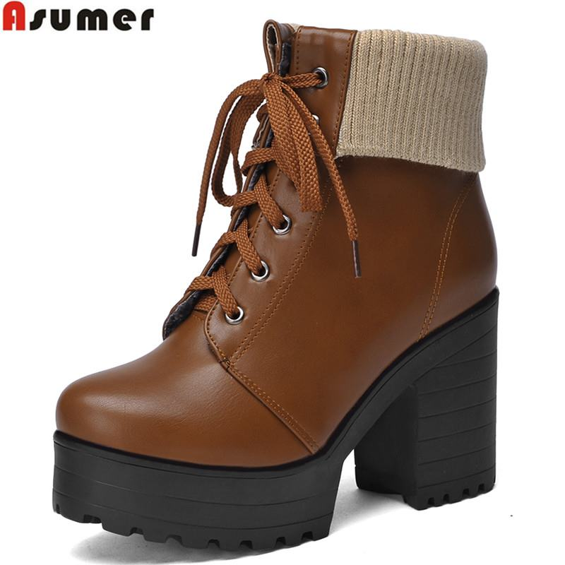 ФОТО Plus size new fashion high quality soft pu leather ankle boots autumn winter boots women shoes lace up platform shoes woman