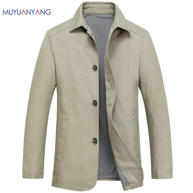 76cb8b41c1e Mu Yuan Yang 2018 Spring New Men Jacket Business Casual Turn-down Collar  Single Breasted Solid Color Thin Cotton Men Coats