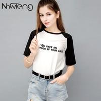 Summer women's patchwork t shirt tees printed hip pop letter black print short sleeve femme tee tops tumblr ladies rock clothing