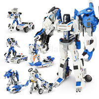 5 In 1 Alloy Cars&Helicopter Deformation City Defenders Anime Toys Transformation Aircraft Action Figures Boy Birthday Gift