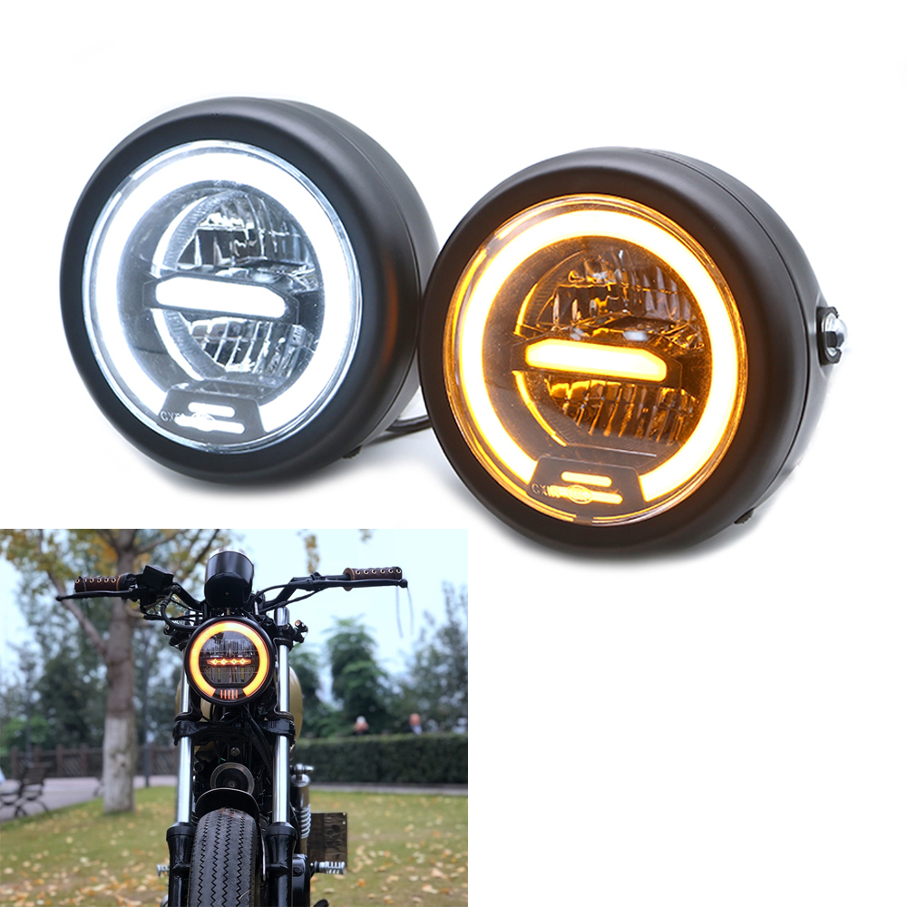 6 5inch Inch Retro Motorcycle Headlight Headlamp Head faring LED Daytime Running light For SUZUKI GN CHOPPER Cafe Racer Bobber