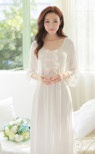 d37315518 Free Shipping Princess Nightdress Women's White Long Pyjamas Thin Material  Nightgown Autumn Sleepwear Ladies negligee