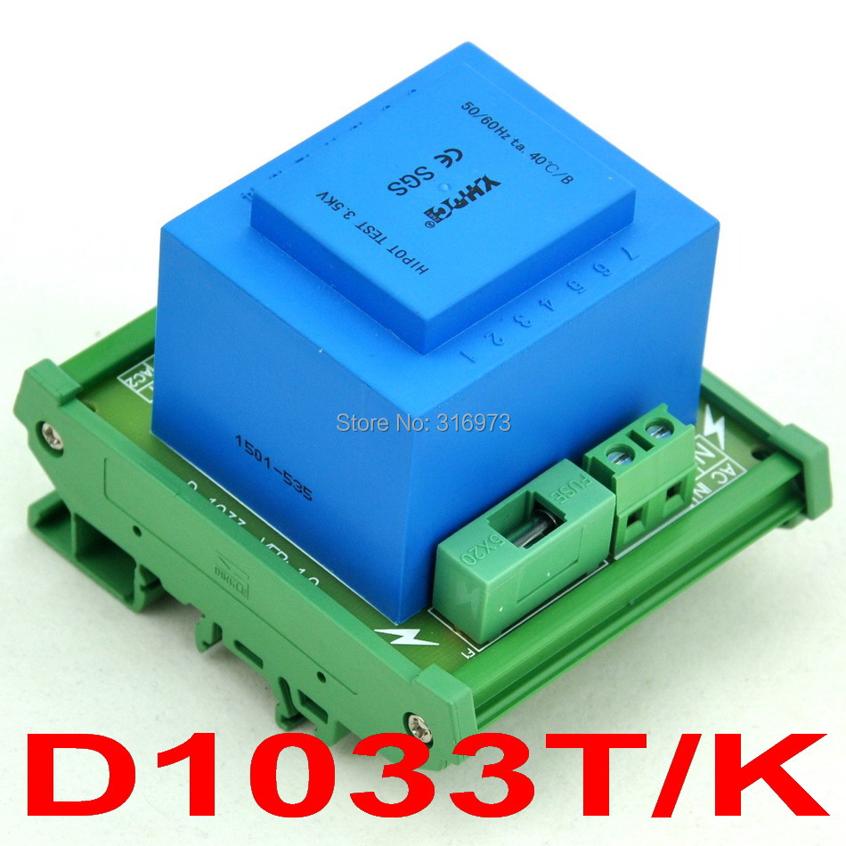 P 115VAC, S 2x 15VAC, 20VA DIN Rail Mount Power Transformer Module,D-1033T/K,15V