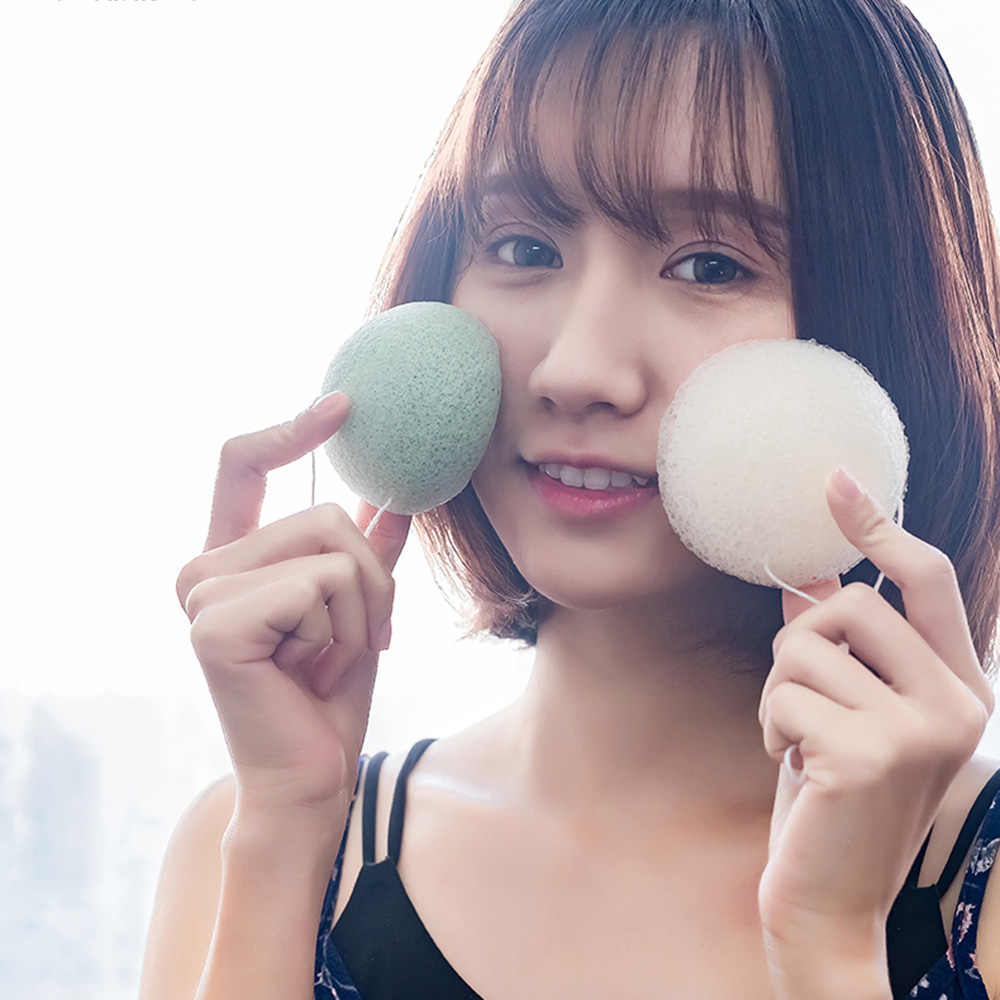 1 PC 3 Cores Forma Redonda Konjac Esponja Cosméticos Puff Rosto Limpeza Esponja Ferramenta de Limpeza Facial Konjac Natural Lavagem Vibração TSLM1