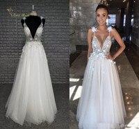 2019 Modern Berta A Line Garden Beach Wedding Dresses Beads 3D Applique Sexy Plunge V Neck Tulle Backless Bridal Gowns Hottest