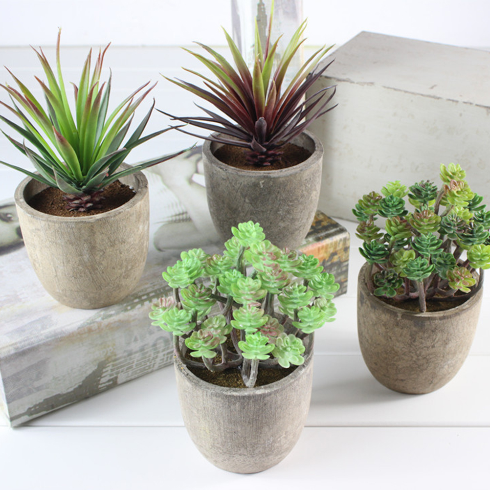 2pcs Pack Creative Bonsai Artificial Succulents Mini Fake Potted Retro Simulation Plants Small Ornaments For Home Cafe Decor in Artificial Plants from Home Garden