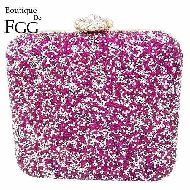 Hot Pink Fuchsia Crystal Diamond Women Box Metal Evening Bag Ladies Banquet Dinner Chain Shoulder Handbag Purse Metal Clutches