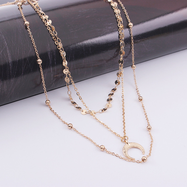 Collar multicapa sencillo para Mujeres gargantilla de Oro del Collar Collar de Luna Collar clav cula