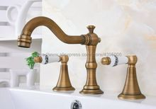 Basin Faucets Antique Brass 3 Pcs Bathroom Sink Faucet Double Handle 3 Hole Deck Mounted Bathtub Hot Cold Mixer Tap Ban085 free shipping four sets of bathrooms ceramics brass faucet double knobs 4 hole deck mounted sink faucet hot cold mixer tap