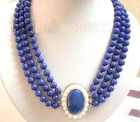 women good very good Stunning Charming Jewelry 3Row Real Lapis Lazuli white pearl clasp Necklace Natural silver wholesale free s
