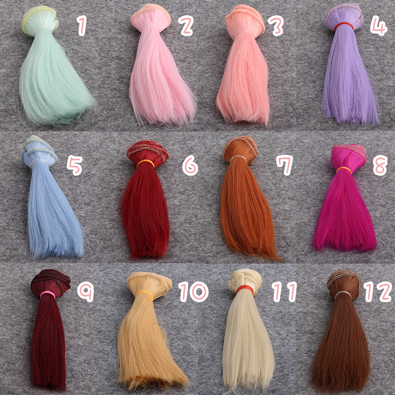 Doll Wigs 15cm*100cm Doll Hair DIY High-temperature Wire 45 colors Straight Hair Wigs for 1/3 1/4 1/6 BJD DIY JF001 1 8 bjd sd doll wigs for lati dolls 15cm high temperature wire long curly synthetic hair for dolls accessorries high quality wig