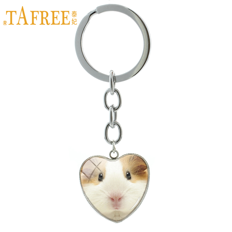 TAFREE 2017 Fashion Guinea Pig Keychain Cute Lovely Animal Mouse Wolf Tiger Heart Pendant Key Chain Ring Men Women Jewelry HP440