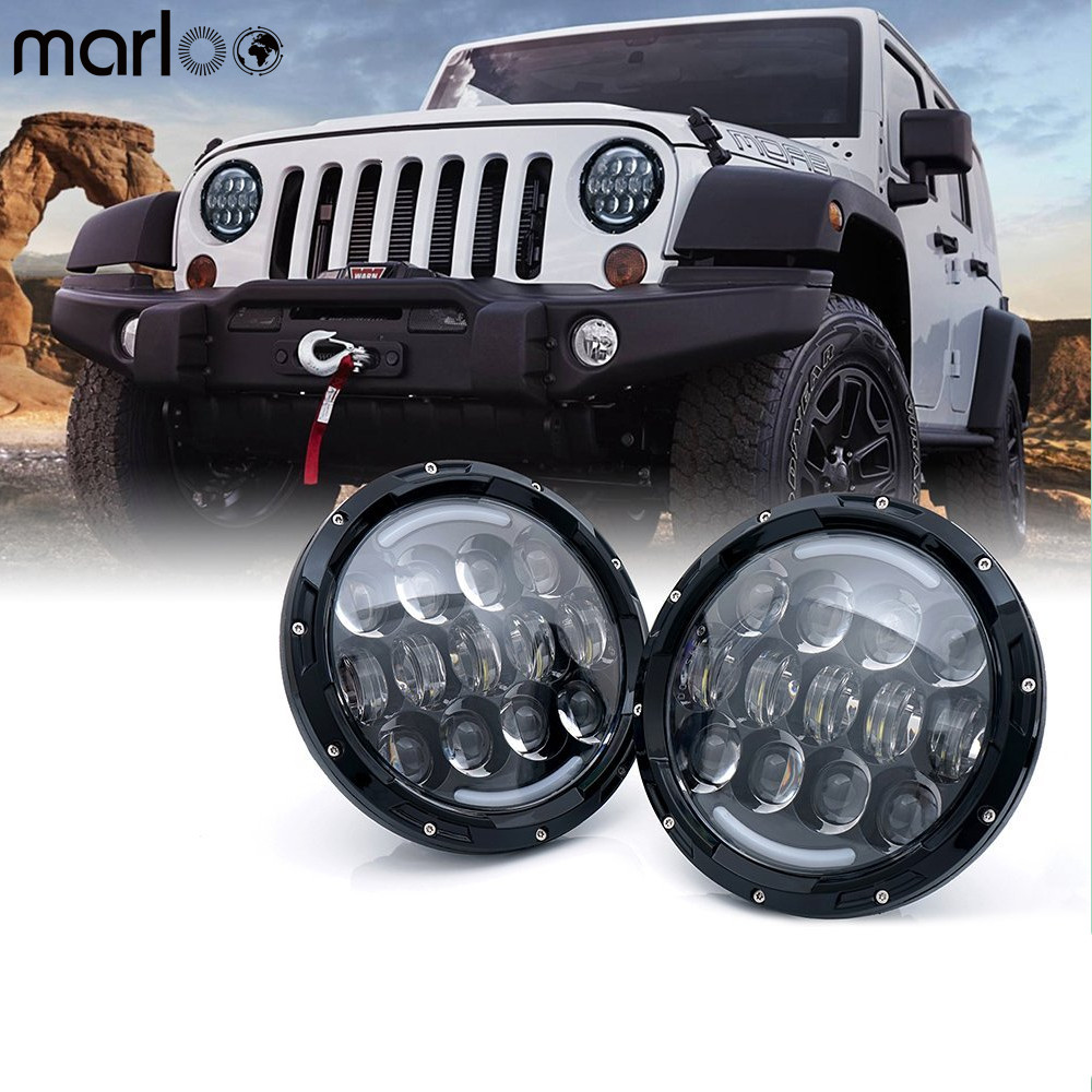 Marloo 7 Inch 105W White Round LED Headlight Offroad Car Lamp DRL Amber Turn Signal Light For Jeep Wrangler Jk TJ Harley Truck 1 pair 60w 7 inch round led headlight with white amber turn signal drl for jeep wrangler jk tj harley davidson
