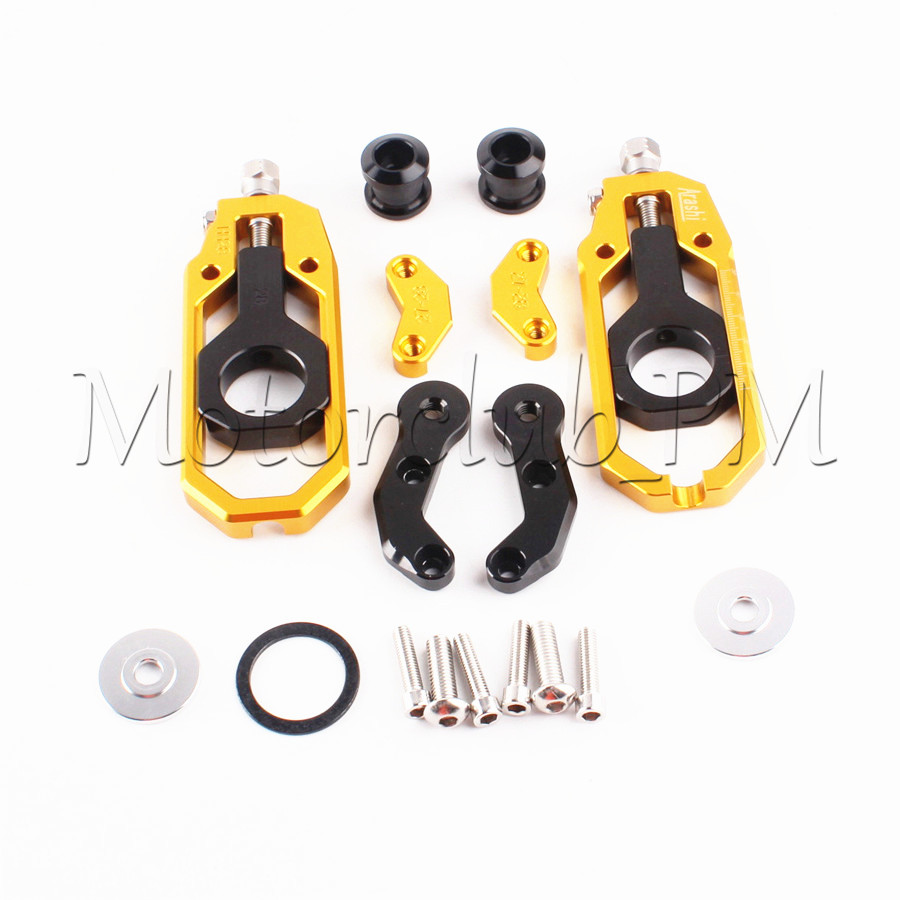 Motorcycle Aluminum Chain Adjuster Tensioner with Spool For Yamaha YZF R1 2004 2005 Gold motorcycle chain tensioner adjuster with spool fit for yamaha r1 yzf r1 2007 2008 2009 2010 2011 2012 2013 2014 red