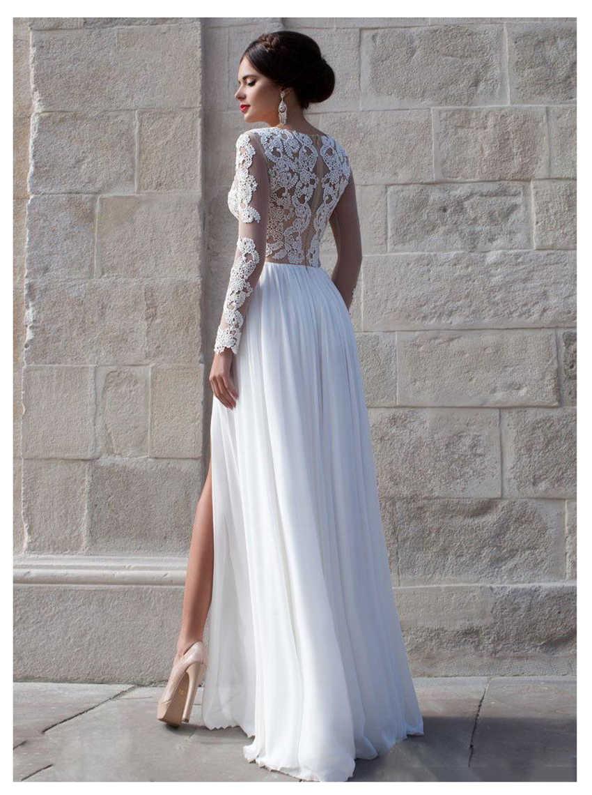 Boho חתונה שמלה מתוקה אפליקציות שיפון הכלה שמלת תפור לפי מידה צד פיצול חתונת שמלת משלוח חינם 2019