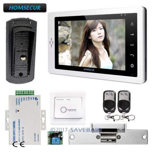 HOMSECUR 1V1 7 Wired Video&Audio Home Intercom Electric Strike Lock Set Included