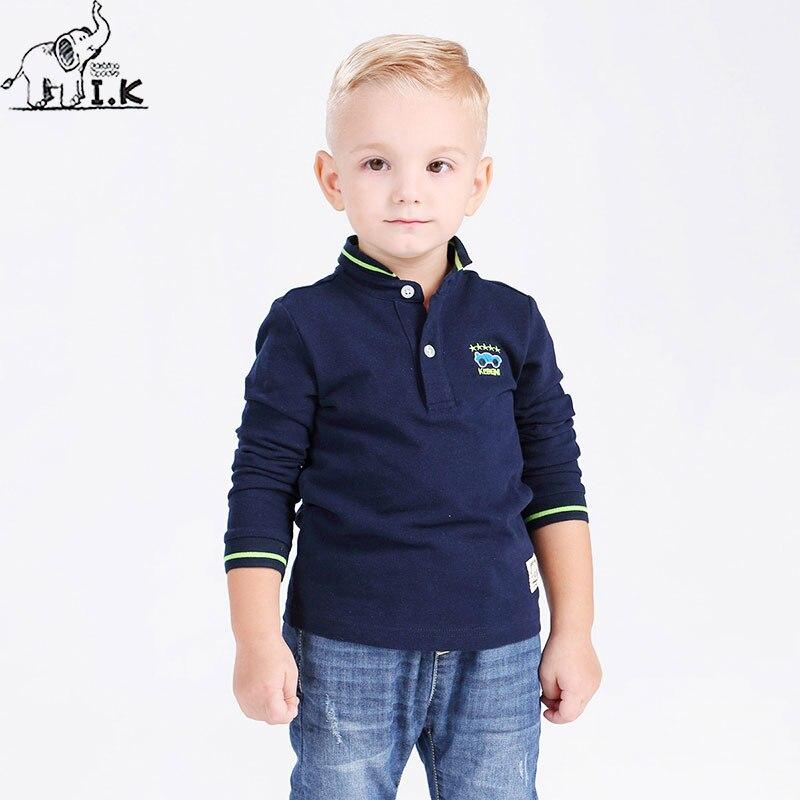 I.K Boy Polo Shirts For Spring Autumn Long Sleeves Kids 2017 Fashion Solid 100% Cotton Children Kids Clothing Bobo Choose LT1014 недорго, оригинальная цена