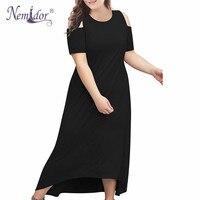 Nemidor Women Vintage Cold Shoulder Casual Short Sleeve Long Dress Plus Size 8XL 9XL High Low Hem Party Maxi Dress with Pocket