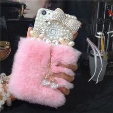 luxury gem Bling Fox Rabbit Plush Fur Pearl Bowknot Back Cover Case for SAMSUNG S5 S6 S6E+ S7 S7E S8P N3 N4 N5  Tassel pendant