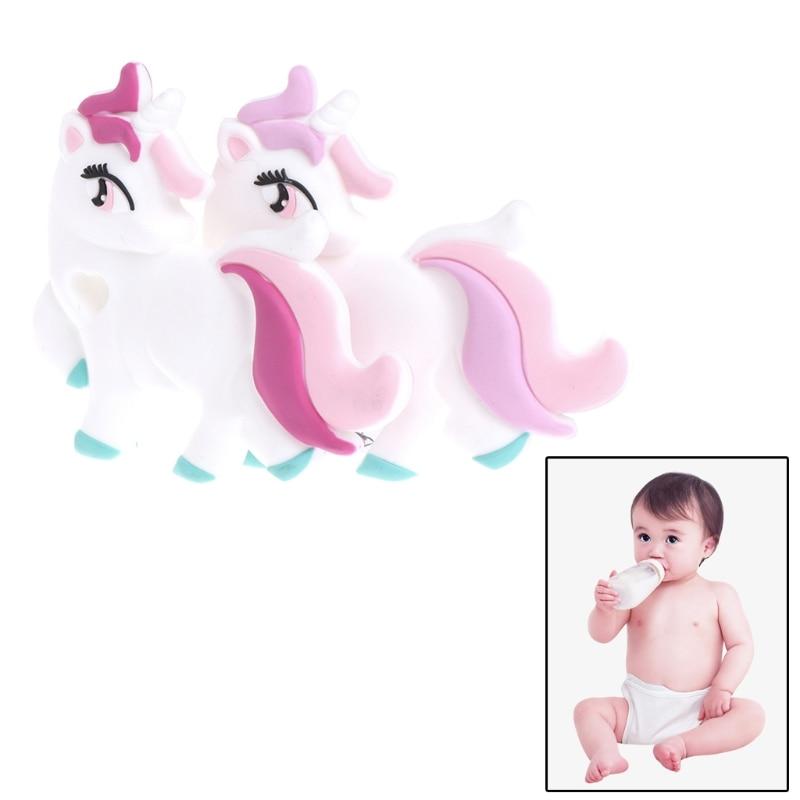 Baby Love Unicorn Teether Silicone Unicorn Diy Teething Necklace Food Grade Silicone Teether Baby Pendants