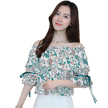 Chiffon Blouse Women Tops Summer New Sexy Female Bare Shoulder Low Collar Elegant Printing Green Floral Shirt