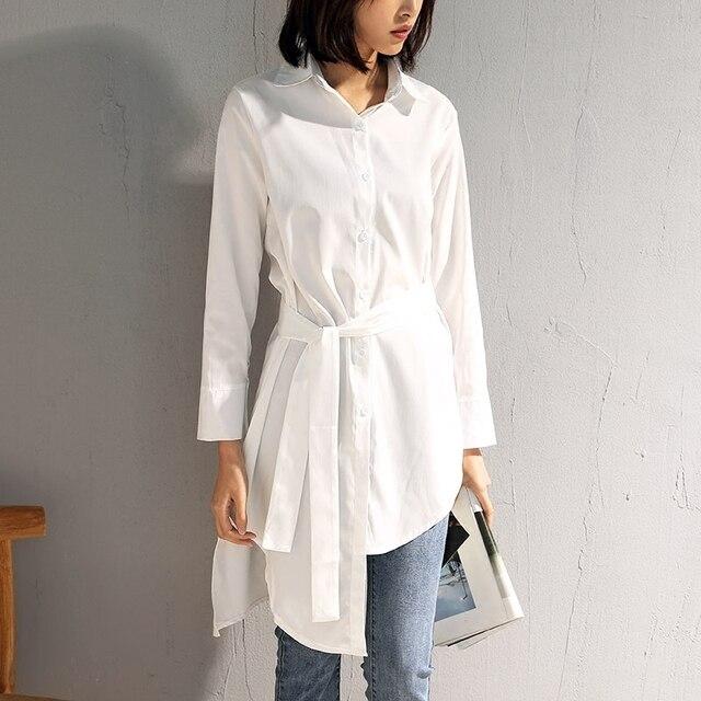 0564f956015d LANMREM 2018 Nowych Moda Paskiem Asymetryczna Bluzka Proste Pełne Rękawem  Sashes Długo Typu Nieregularne koszula damska