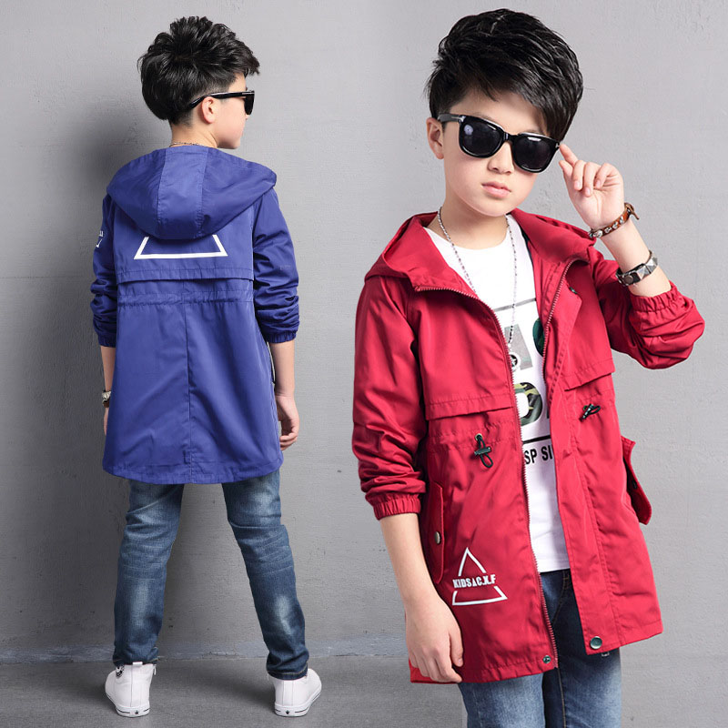 3b22d70ad147 Kids Trench Coats For Boys Long Outerwear Spring Fashion Hooded ...