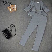 New Arrival 2014 Autumn Fashion Women S Pants Suits Houndstooth Checker Pattern Ruffles Coat Suits For