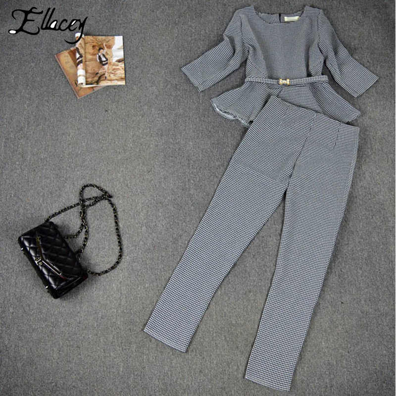Новинка 2019 года, весенне-осенние модные женские деловые брюки, костюмы в клетку с рисунком «гусиные лапки», костюмы с оборками для женщин, комплект из 2 предметов