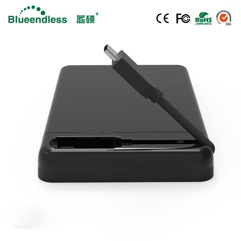 Blueendless 2,5 Zoll HDD Fall USB3.0 SATA TYPE-C External Hard stick Gehäuse 6 Gbps High-Speed Box für HDD SSD Unterstützung UASP