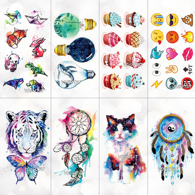 Симпатичные акварель мультфильм Дизайн Временные татуировки для детей лампы вода trasnfer татуировки Наклейки Ocean Для женщин Девушка татуировки