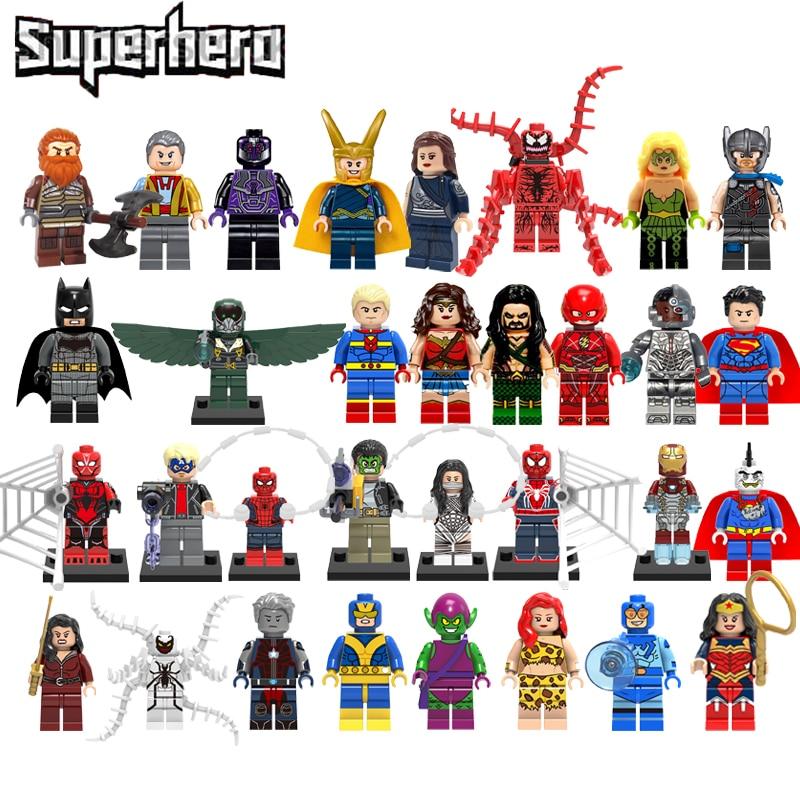 Super Heroes Justice League Figures Toys Superman Wonder Woman Legoelys Flash Batman Aquaman Super Heroes Blocks Toys Kids