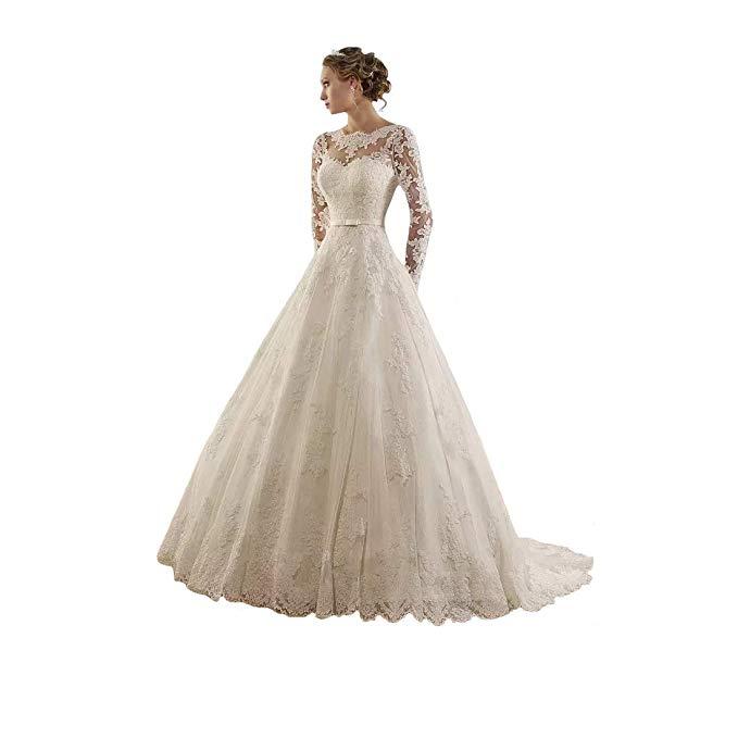 2019 Elegant Women's Lace Applique Long Sleeve Chapel Wedding Dress Celebrity Bridal Gown vestido De Noiva
