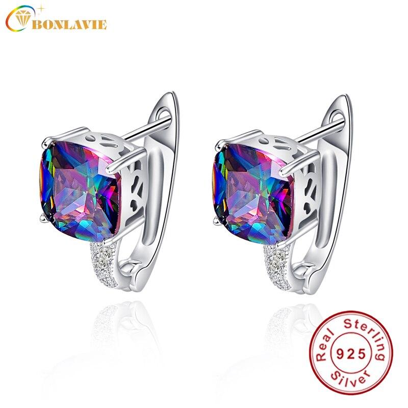 BONLAVI Square Natural Mystic 6.8ct Rainbow Topaz Stones Pierced Ear Cuff 925 Sterling Silver Brand Party Wedding Fine Jewelry