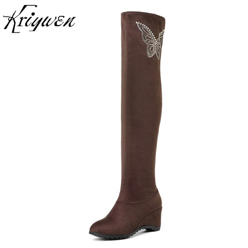 Kriywen 2018 Winter New Womens Over The Knee Boots Crystal Butterfly Thigh Long Boots Wedges Ladies Party Shoes Plus Size 33-43