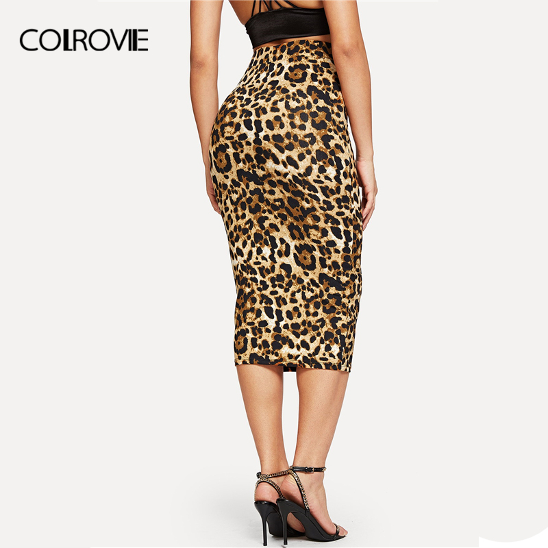 Image 2 - COLROVIE Leopard Print High Waist Workwear Bodycon Winter Long Skirt 2018 Autumn Vintage Fashion Skirts Womens Pencil Sexy Skirt-in Skirts from Women's Clothing