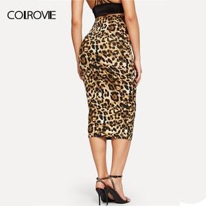 Image 2 - COLROVIE Leopard Print High Waist Workwear Bodycon Winter Long Skirt 2018 Autumn Vintage Fashion Skirts Womens Pencil Sexy Skirt