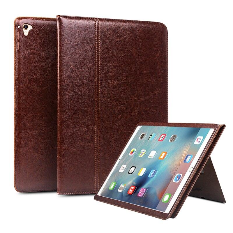 QIALINO Véritable Étui En Cuir pour iPad Pro 12.9 Flip Mode motif Stents Dormance Stand CoverCard Slot cas