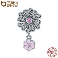 BAMOER Authentic 925 Sterling Silver Blooming Daisy Flower Dangle Charm Pendant Fit Women Charm Bracelet Necklace
